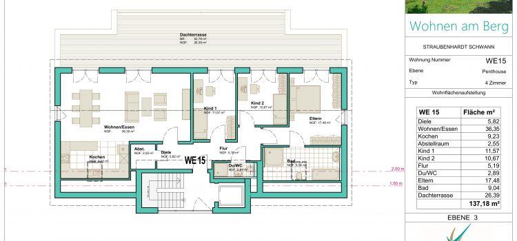 """Wunderschöne DG – Penthouse Wohnung in gehobener Bauweise in unserem Projekt """"Wohnen am Berg"""""""