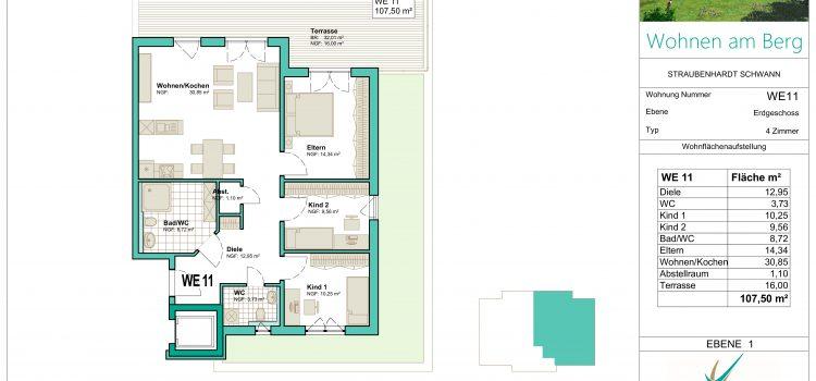 """4 - Zimmer - Wohnung in gehobener Bauweise in unserem Projekt """"Wohnen am Berg"""""""